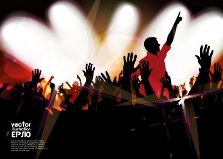 Clubbing. Crowd of young dancing people Stock Vector - 17156946