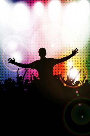 Silhouettes de foule de concert devant les lumières de scène lumineux