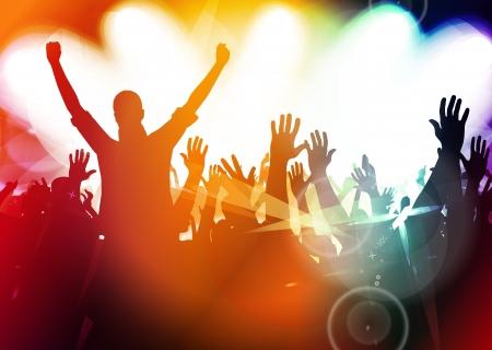Multidão de concerto na frente do palco