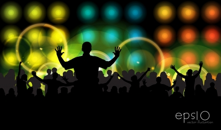Cheering crowd at concert Stock Vector - 17256523