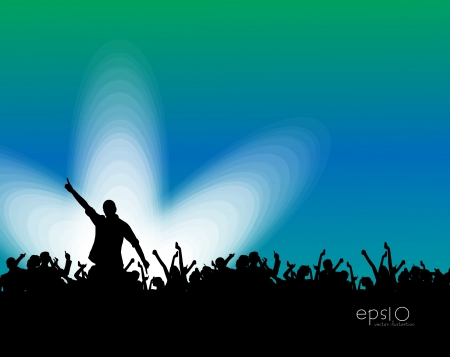 Silhouettes of concert crowd Vector