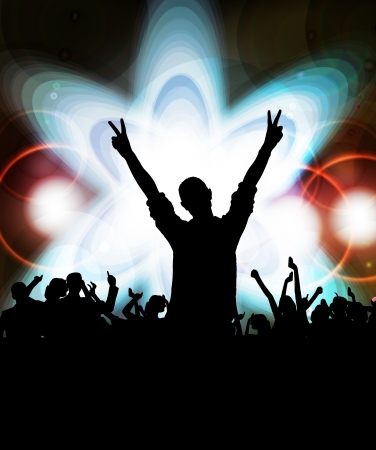 clubing: Crowd cheering at the music concert