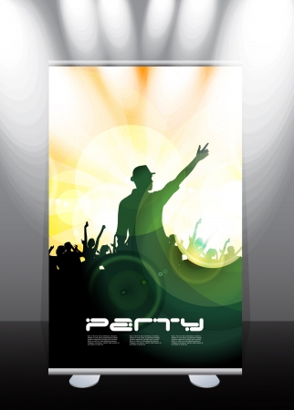 Roll-up display with stand banner template design, vector illustration. Stock Vector - 17284229