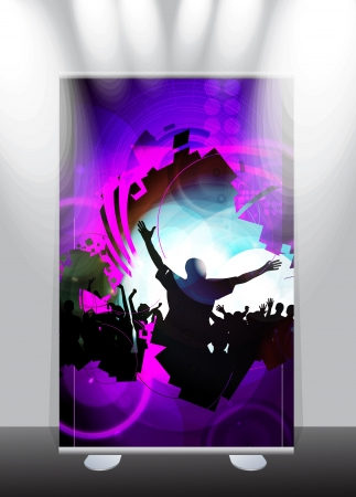 A display with stand banner template design. Vector illustration Vector