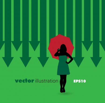 frau nach oben schauen: Gesch�ftsfrau h�lt einen Regenschirm Illustration