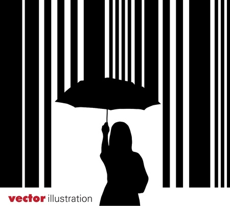 Bar code and woman with umbrella