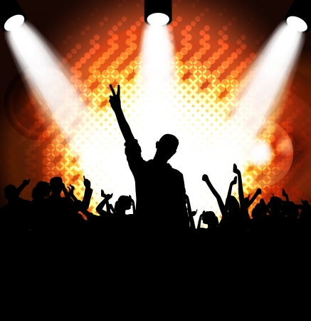 Crowd cheering at the music concert Stock Vector - 17359137