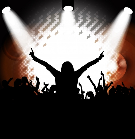 Crowd cheering at the music concert Stock Vector - 17359136