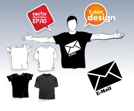 T-shirt. Men body silhouette. Stock Vector - 17413350