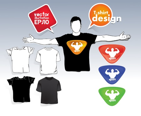 T-shirt. Men body silhouette. Stock Vector - 17413361