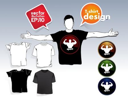 T-shirt. Men body silhouette. Stock Vector - 17413353