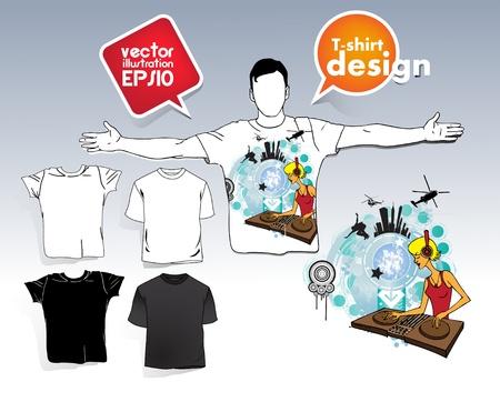 T-shirt. Men body silhouette. Stock Vector - 17413412