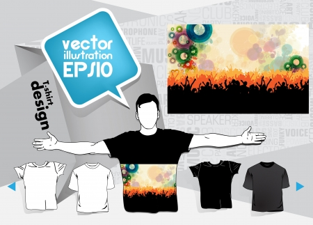 Men s shirt template with human body silhouette Stock Vector - 17413490