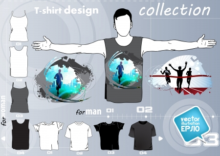 T-shirt. Men body silhouette. Vector Vector