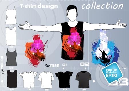 raglan: T-shirt. Men body silhouette. Vector