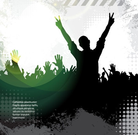 rock star: Silhouettes of concert crowd Illustration
