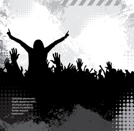 applauding: Silhouettes of concert crowd Illustration