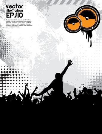 Music party. Dancing people Vector