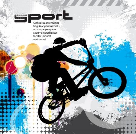 riding bike: Biker. Illustration