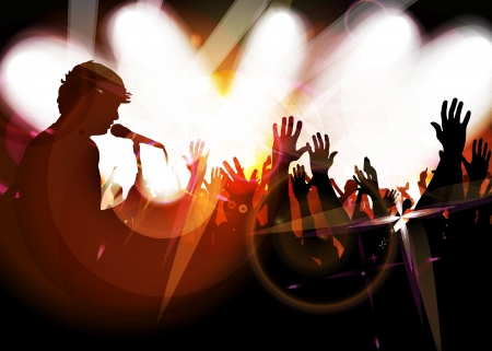 Concert crowd in front of bright stage Stock Vector - 17530067