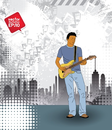 melodies: Man with quitar  Vector Illustration