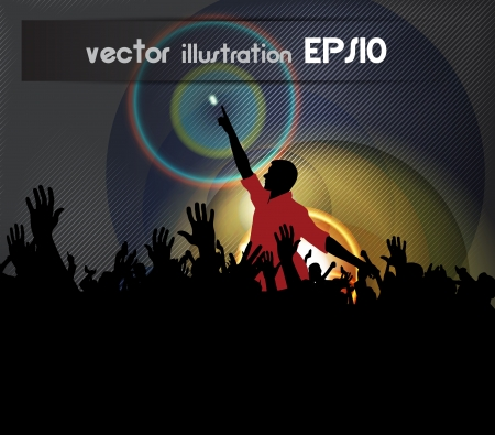 Crowd of people. Concert illustration Vector