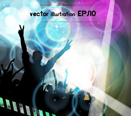 Crowd of dancing people Stock Vector - 17924904