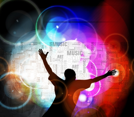 adoring: Dancing people. Music event illustration