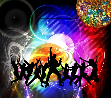dance floor: Dancing people. Music event illustration