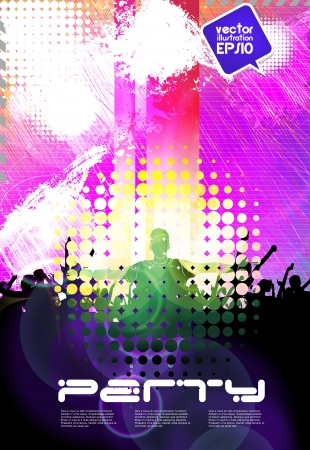 dubstep: Group of people. Crowd infront of a stage. Vector