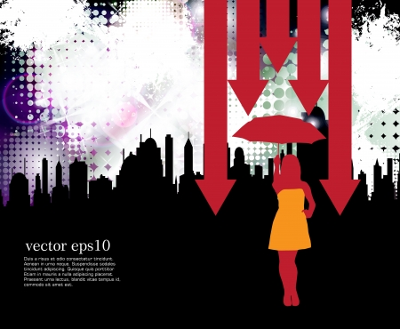 frau nach oben schauen: Gesch�ftsfrau mit Regenschirm Illustration