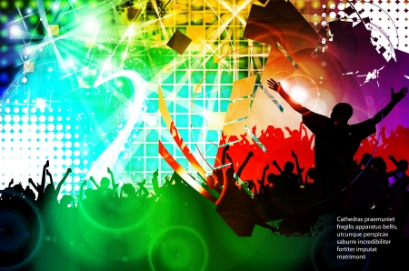 youth group: Crowd of people  Concert illustration