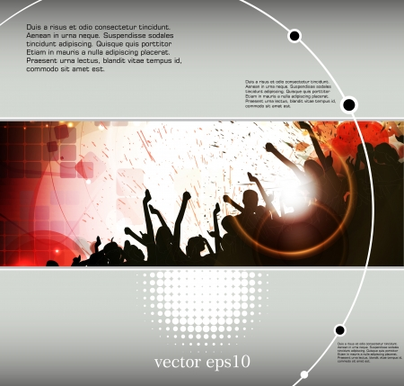 stage background: Crowd of dancing people. Event poster. Vector