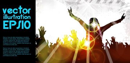 nightclub crowd: Music event background  Illustration