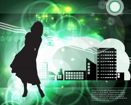 Silhouette of girl Stock Vector - 18622348