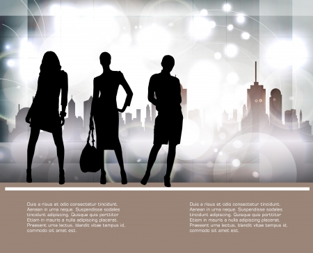 go to store: Silhouette of girls Illustration