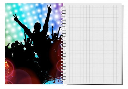 Notepad with dance party illustration.  Stock Vector - 18622443