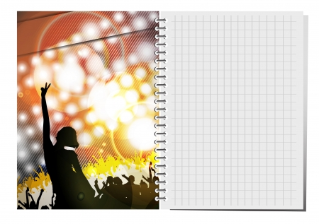 Notepad with dance party illustration. Stock Vector - 18622469