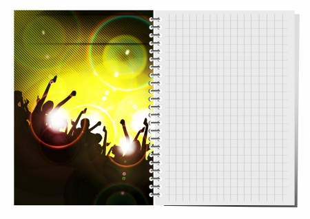 Notepad with dance party illustration. Stock Vector - 18622439