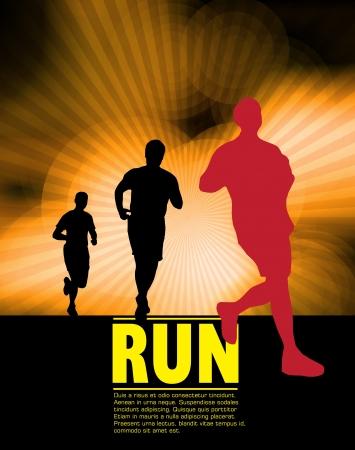 male athlete: illustration of man running in marathon  Illustration