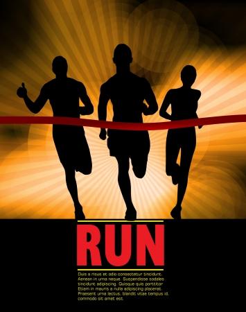 illustration of man running in marathon  Vettoriali