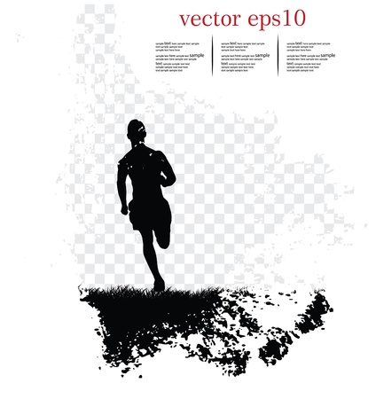 marathon runner: Background with runner. Vector illustration Illustration
