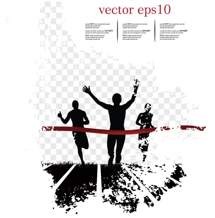 Background with runners. Vector illustration Vettoriali