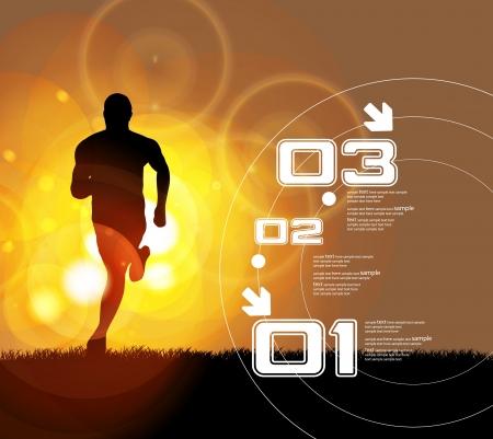 hacer footing: ilustraci�n del hombre que se ejecuta en marat�n