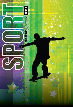 racing skates: Skateboarder. Vector