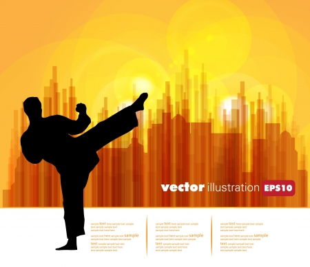 striker: Karate. Vector illustration