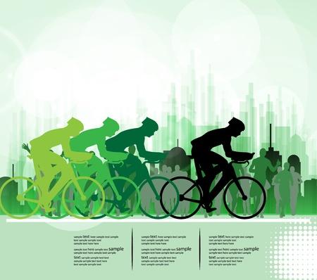 Sport coureurs de vélo de route vélo. Vecteur Illustration