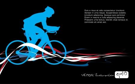 Sport Rennrad Fahrer Fahrrad. Vector