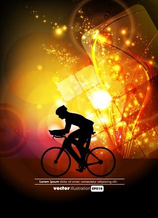 Sport road bike rider bicycle. Vector Vettoriali