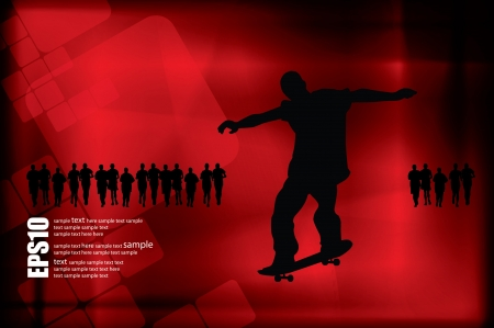 Jumping skateboarder silhouette Stock Vector - 19050063